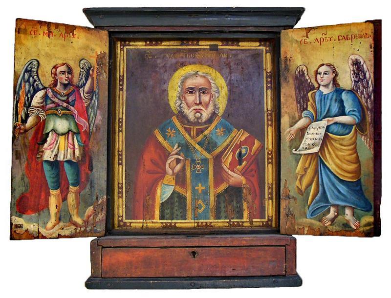 Икона-складень. Никола с архангелами Михаилом и Гавриилом. Речь Посполитая, г. Могилев, 2-я половина XVIII в.